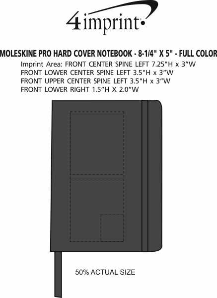 """Imprint Area of Moleskine Pro Hard Cover Notebook - 8-1/4"""" x 5"""" - Full Color"""