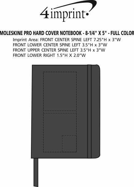 "Imprint Area of Moleskine Pro Hard Cover Notebook - 8-1/4"" x 5"""