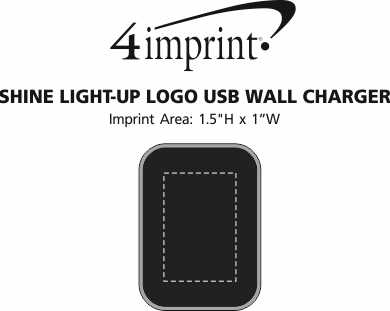 Imprint Area of Shine Light-Up Logo USB Wall Charger