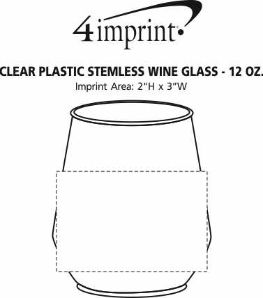 Imprint Area of Clear Plastic Stemless Wine Glass - 12 oz.