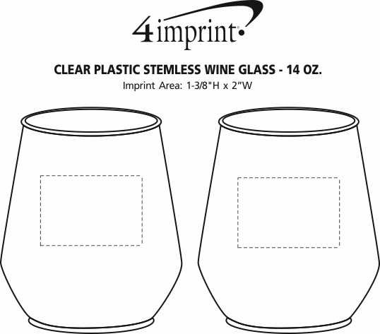 Imprint Area of Clear Plastic Stemless Wine Glass - 14 oz.