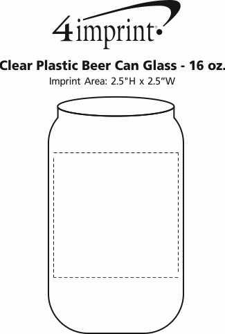 Imprint Area of Clear Plastic Beer Can Glass - 16 oz.