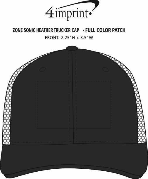 Imprint Area of Zone Sonic Heather Trucker Cap - Full Color Patch