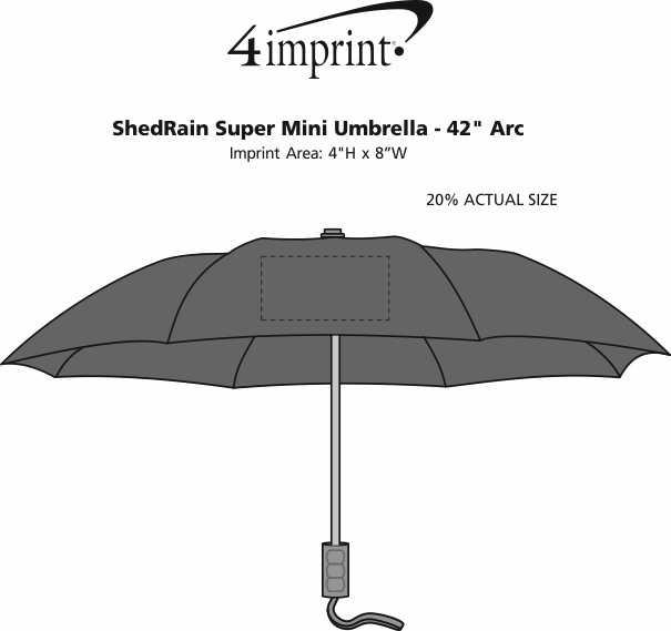 """Imprint Area of ShedRain Super Mini Umbrella - 42"""" Arc - 24 hr"""