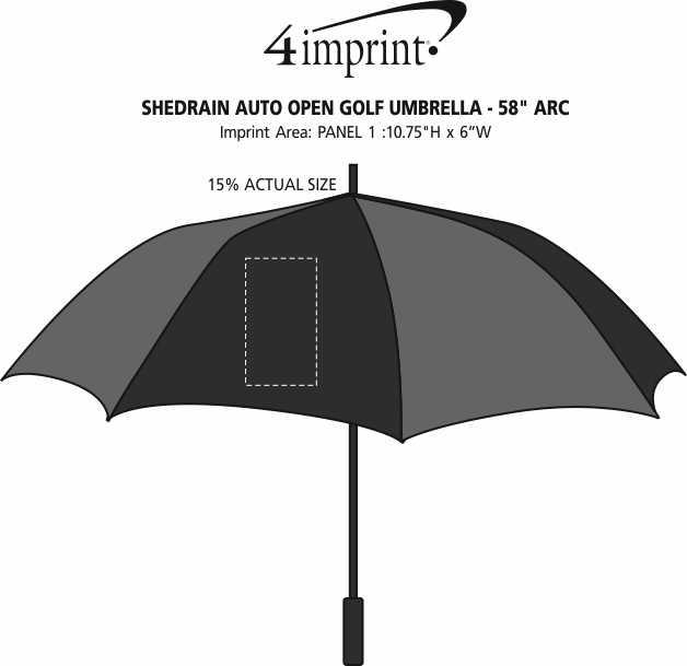 "Imprint Area of ShedRain Auto Open Golf Umbrella - 58"" Arc"