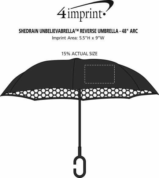 "Imprint Area of ShedRain UnbelievaBrella Reverse Umbrella - 48"" Arc - Pattern"