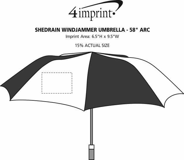 """Imprint Area of ShedRain Windjammer Umbrella - 58"""" Arc"""