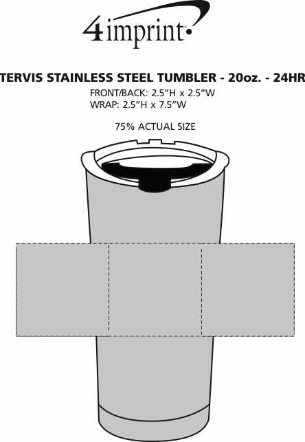 Imprint Area of Tervis Stainless Steel Tumbler - 20 oz. - 24 hr