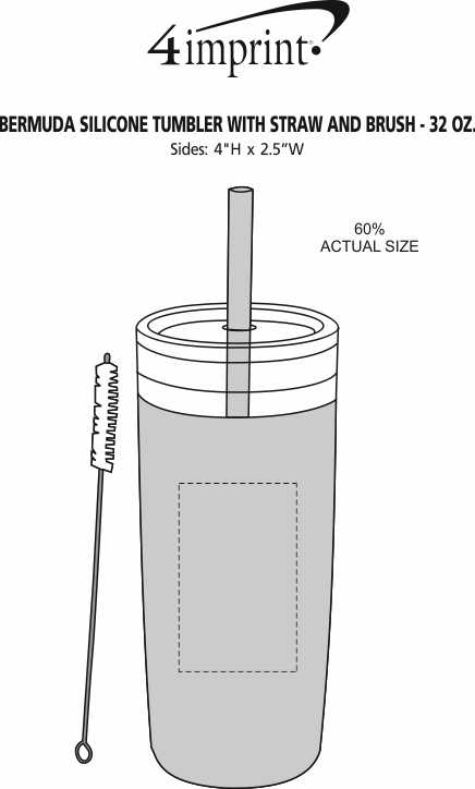 Imprint Area of Bermuda Silicone Tumbler with Straw and Brush - 32 oz.