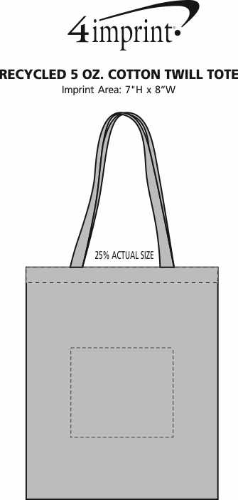 Imprint Area of Recycled 5 oz. Cotton Twill Tote