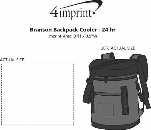 Imprint Area of Branson Backpack Cooler - 24 hr