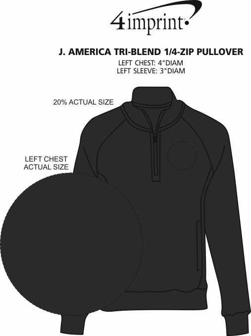 Imprint Area of J. America Tri-Blend 1/4-Zip Pullover