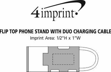 Imprint Area of Flip Top Phone Stand with Duo Charging Cable