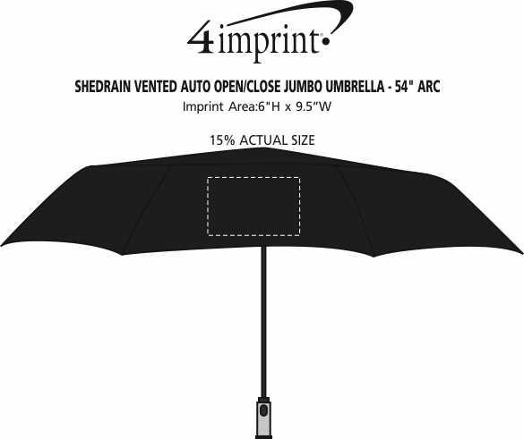 "Imprint Area of ShedRain Vented Auto Open/Close Jumbo Umbrella - 54"" Arc"