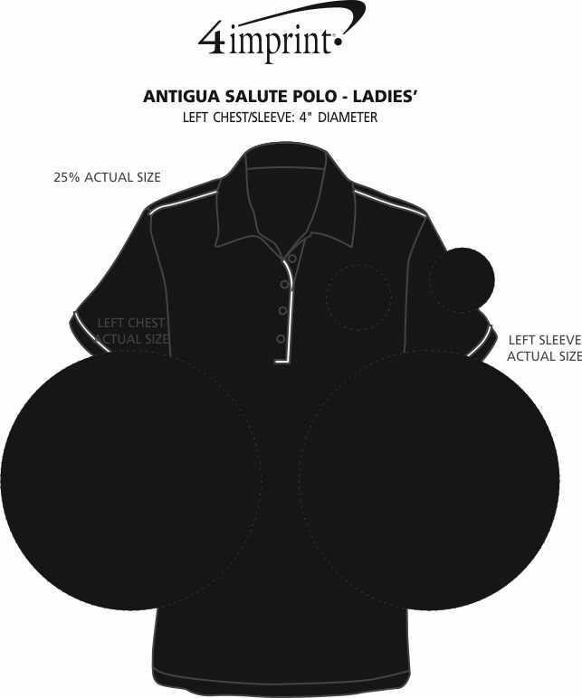 Imprint Area of Antigua Salute Polo - Ladies'
