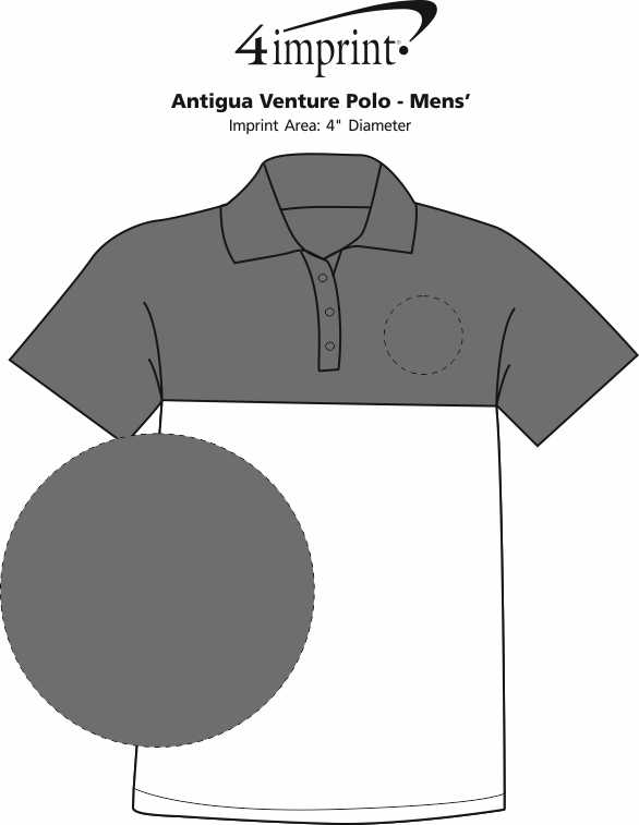 Imprint Area of Antigua Venture Polo - Men's