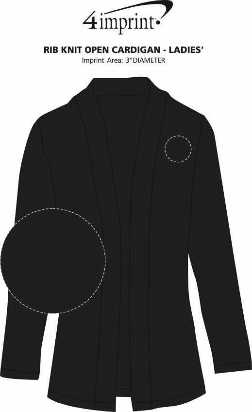 Imprint Area of Rib Knit Open Cardigan - Ladies'