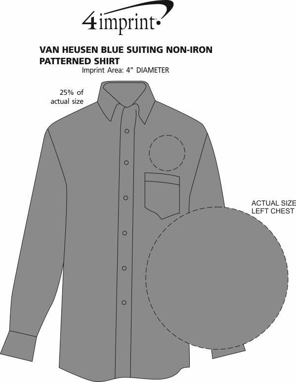 Imprint Area of Van Heusen Blue Suitings Non-Iron Patterned Shirt