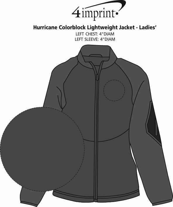 Imprint Area of Hurricane Colorblock Lightweight Jacket - Ladies'