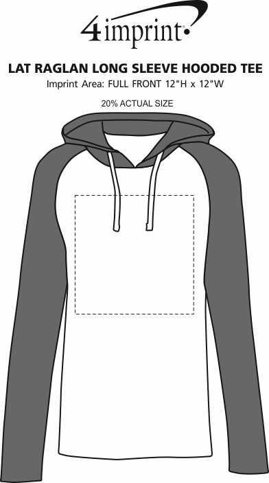 Imprint Area of LAT Raglan Long Sleeve Hooded Tee