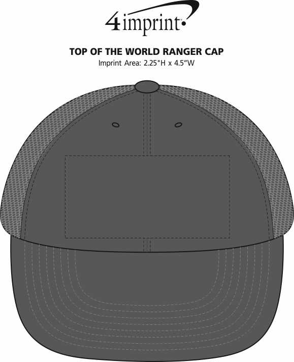 Imprint Area of Top of The World Ranger Cap