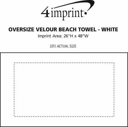 Imprint Area of Oversize Velour Beach Towel - White