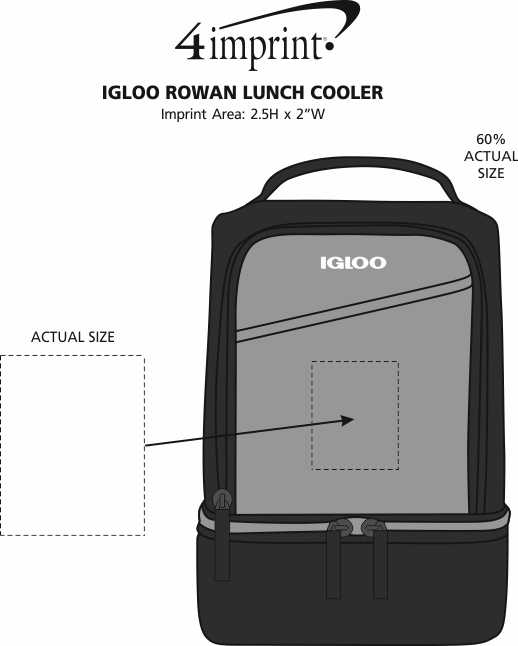 Imprint Area of Igloo Rowan Lunch Cooler