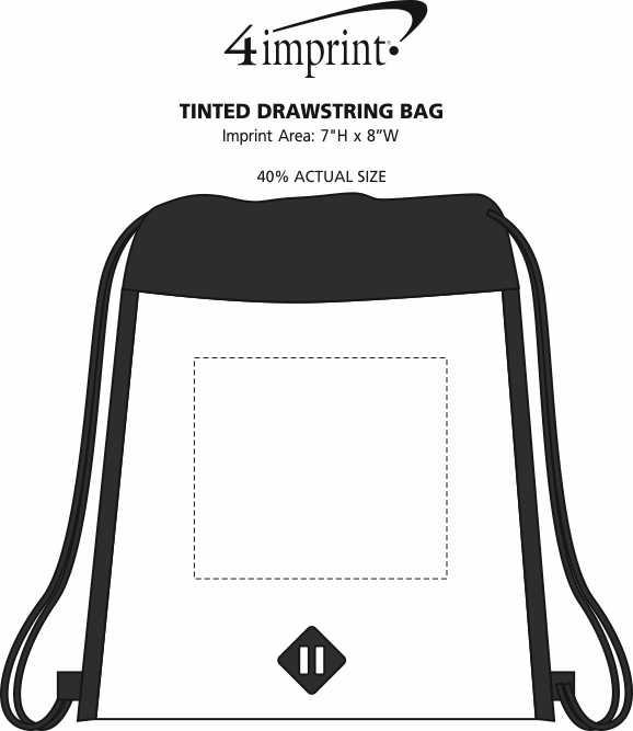 Imprint Area of Tinted Drawstring Bag