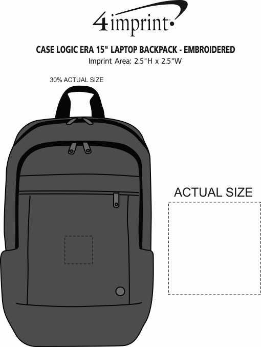 "Imprint Area of Case Logic ERA 15"" Laptop Backpack - Embroidered"
