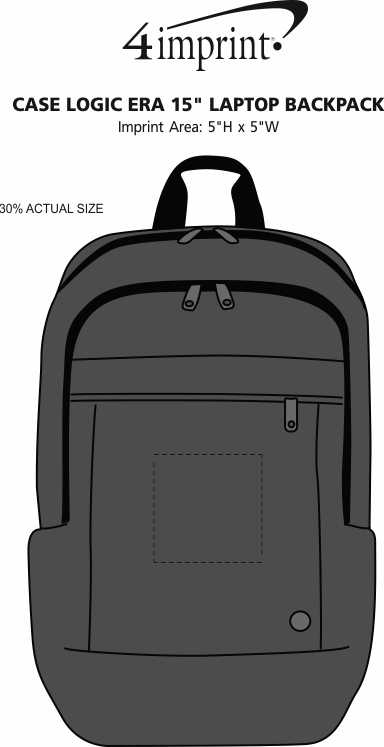 "Imprint Area of Case Logic ERA 15"" Laptop Backpack"