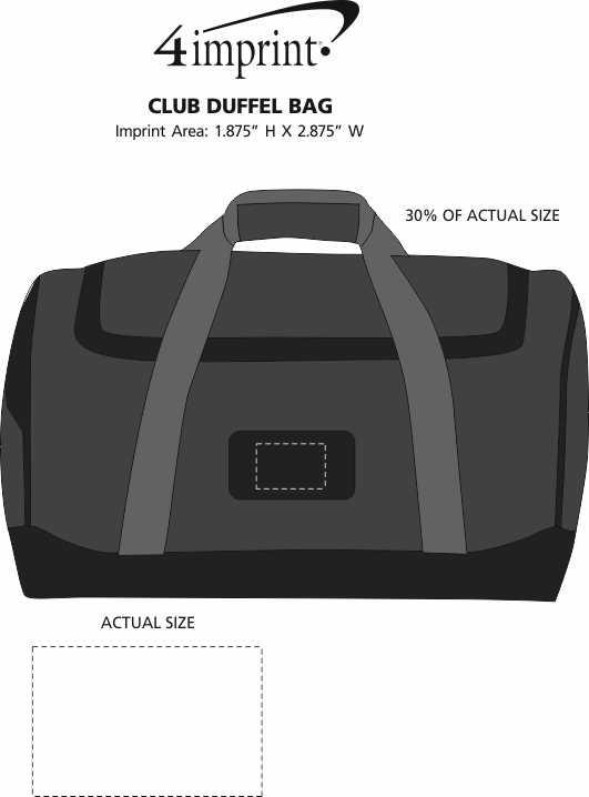 Imprint Area of Club Duffel Bag