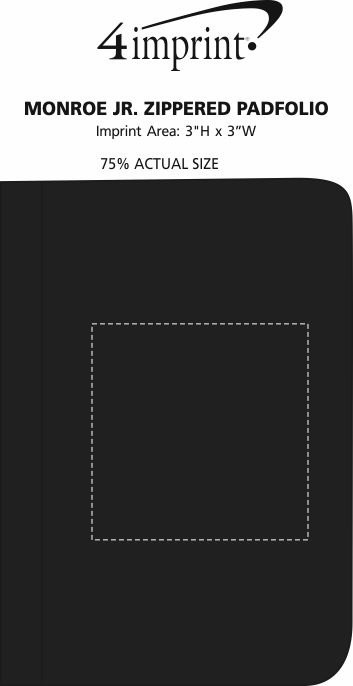 Imprint Area of Monroe Jr. Zippered Padfolio