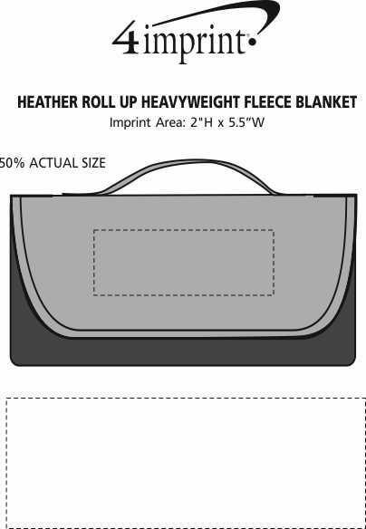 Imprint Area of Heather Roll Up Heavyweight Fleece Blanket