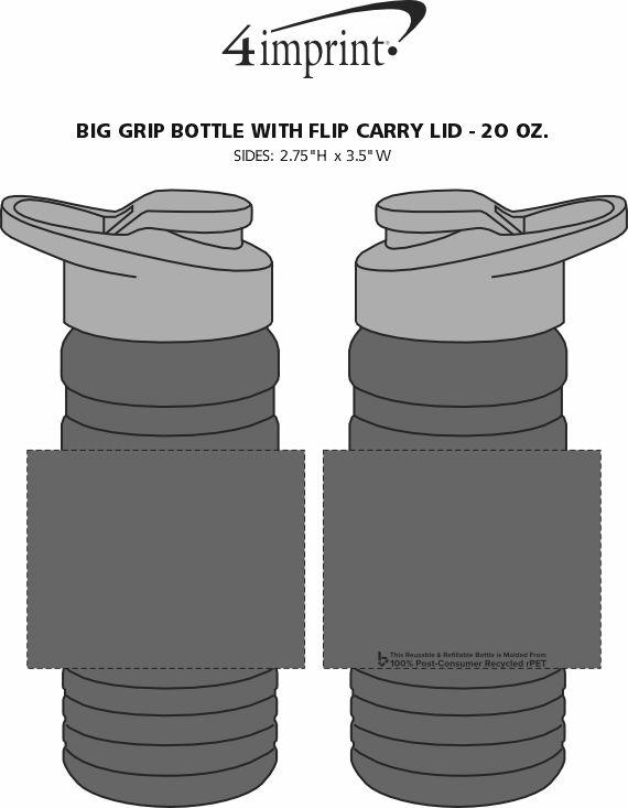 Imprint Area of Big Grip Bottle with Flip Carry Lid - 20 oz.