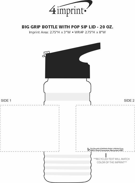 Imprint Area of Big Grip Bottle with Pop Sip Lid - 20 oz.