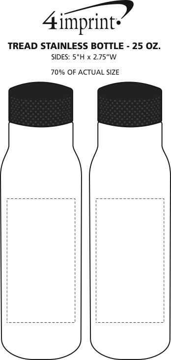 Imprint Area of Tread Stainless Bottle - 25 oz.