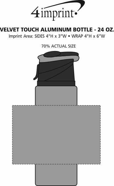 Imprint Area of Velvet Touch Aluminum Bottle - 24 oz.