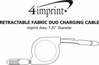 Imprint Area of Retractable Fabric Duo Charging Cable