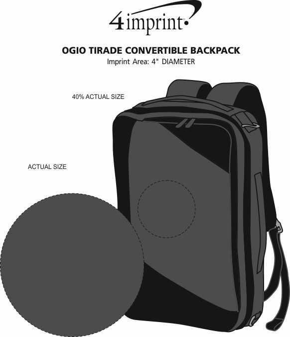 Imprint Area of OGIO Tirade Convertible Backpack