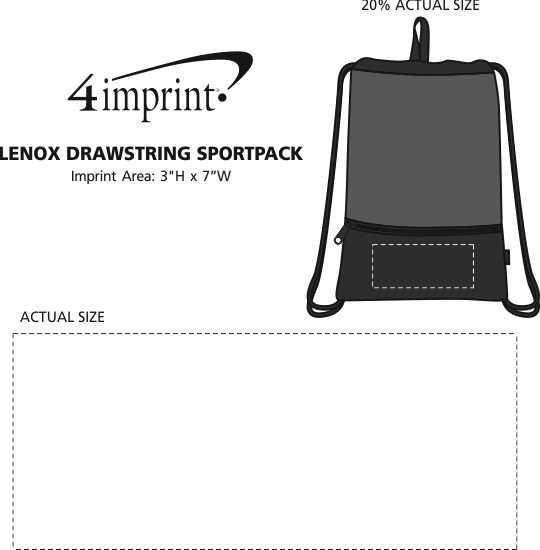 Imprint Area of Lenox Drawstring Sportpack