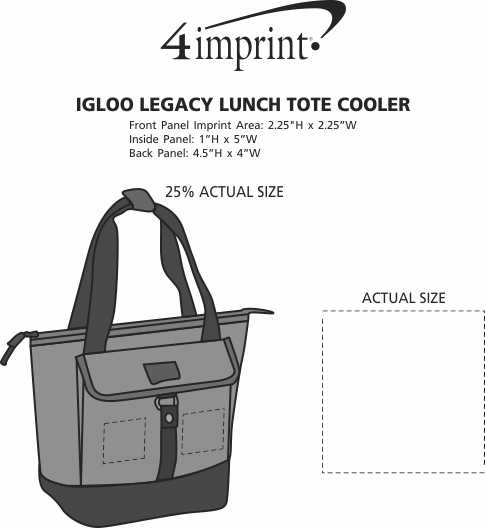 Imprint Area of Igloo Legacy Lunch Tote Cooler