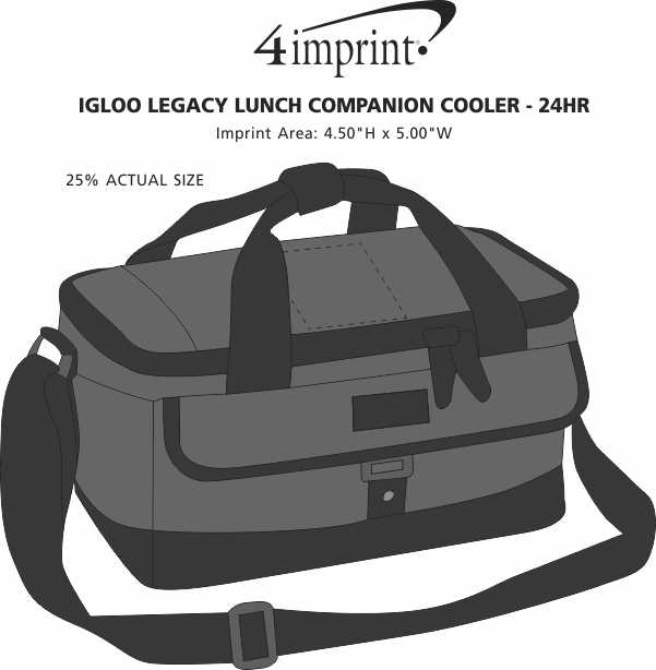 Imprint Area of Igloo Legacy Lunch Companion Cooler - 24 hr