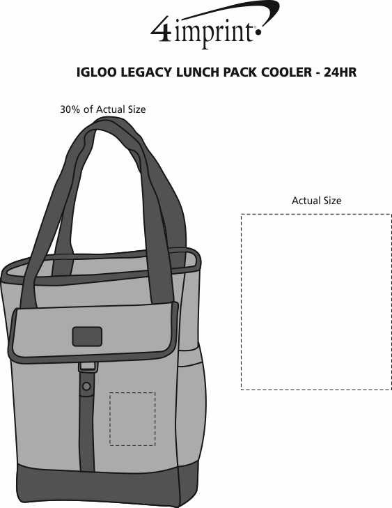 Imprint Area of Igloo Legacy Lunch Pack Cooler - 24 hr