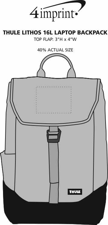 Imprint Area of Thule Lithos 16L Laptop Backpack