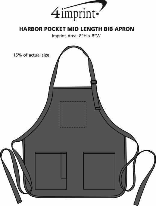 Imprint Area of Harbor Pocket Mid Length Bib Apron