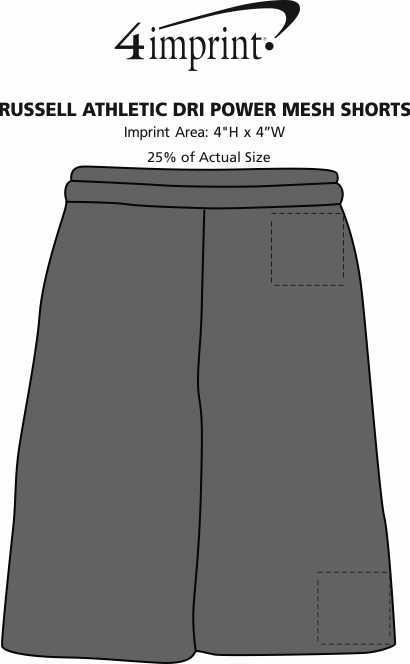 Imprint Area of Russell Athletic Dri Power Mesh Shorts