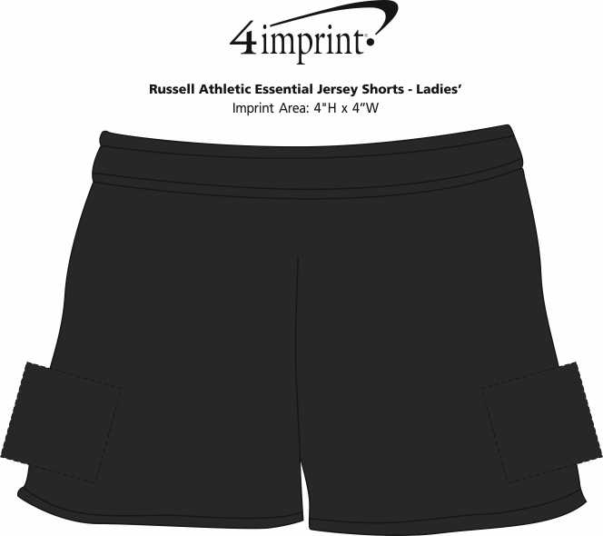 Imprint Area of Russell Athletic Essential Jersey Shorts - Ladies'