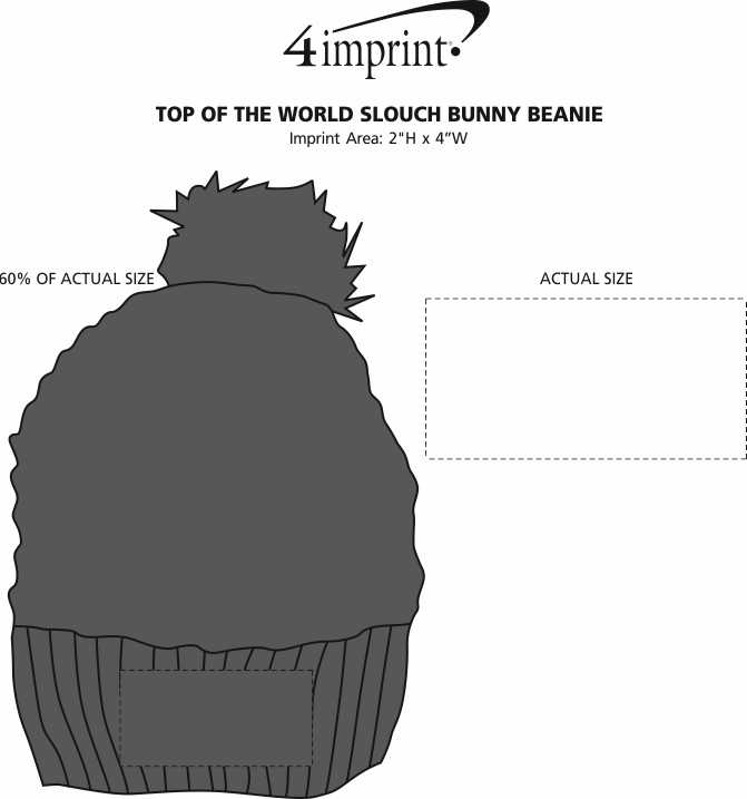Imprint Area of Top of The World Slouch Bunny Beanie