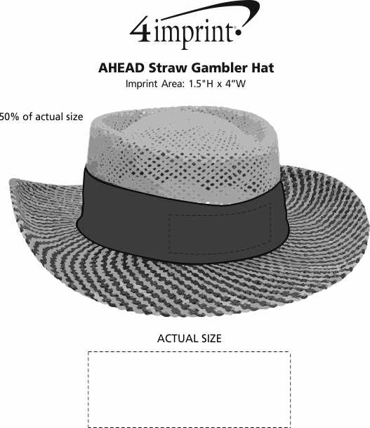 Imprint Area of AHEAD Straw Gambler Hat
