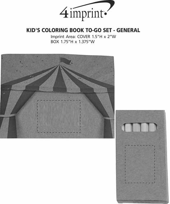 Imprint Area of Kid's Coloring Book To-Go Set - General